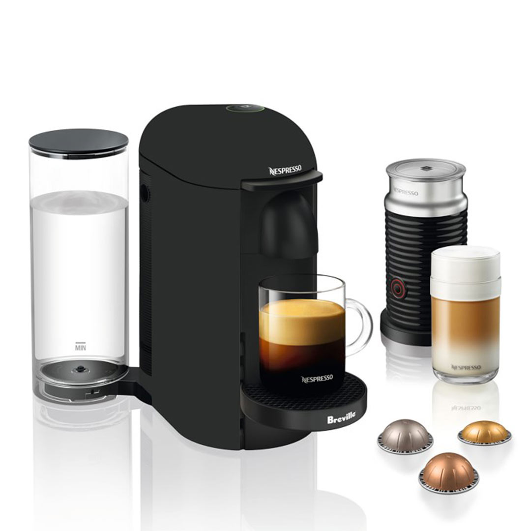 Nespresso Cyber Monday Deals 2019: VertuoPlus Matte Black Coffee Maker & Espresso Machine with Aeroccino by Breville