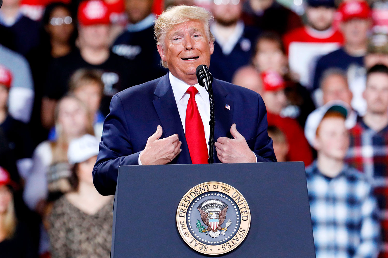 Donald Trump speaks during a Keep America Great Rally at Kellogg Arena December 18, 2019, in Battle Creek, Michigan