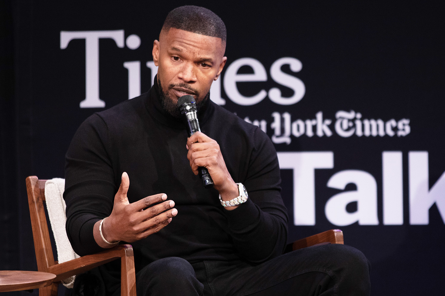 """Jamie Foxx speaks at The New York Times Presents ScreenTimes: """"Just Mercy"""" with Michael B. Jordan, Jamie Foxx and Bryan Stevenson, The Times Center, NYC December 16, 2019"""