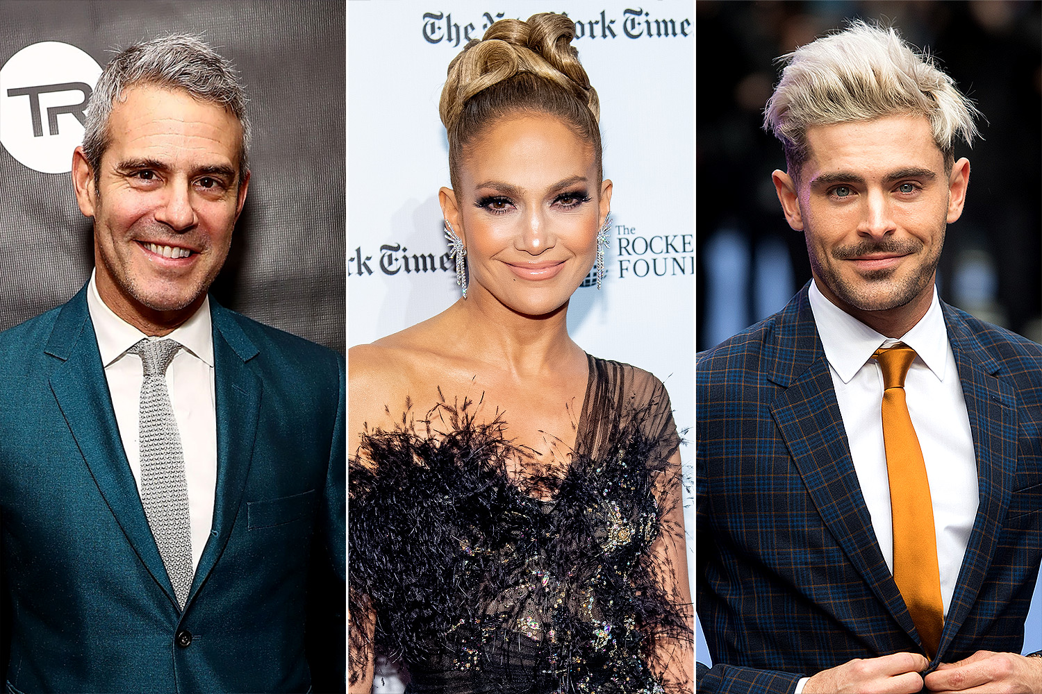Andy Cohen; Jennifer Lopez and Zac Efron