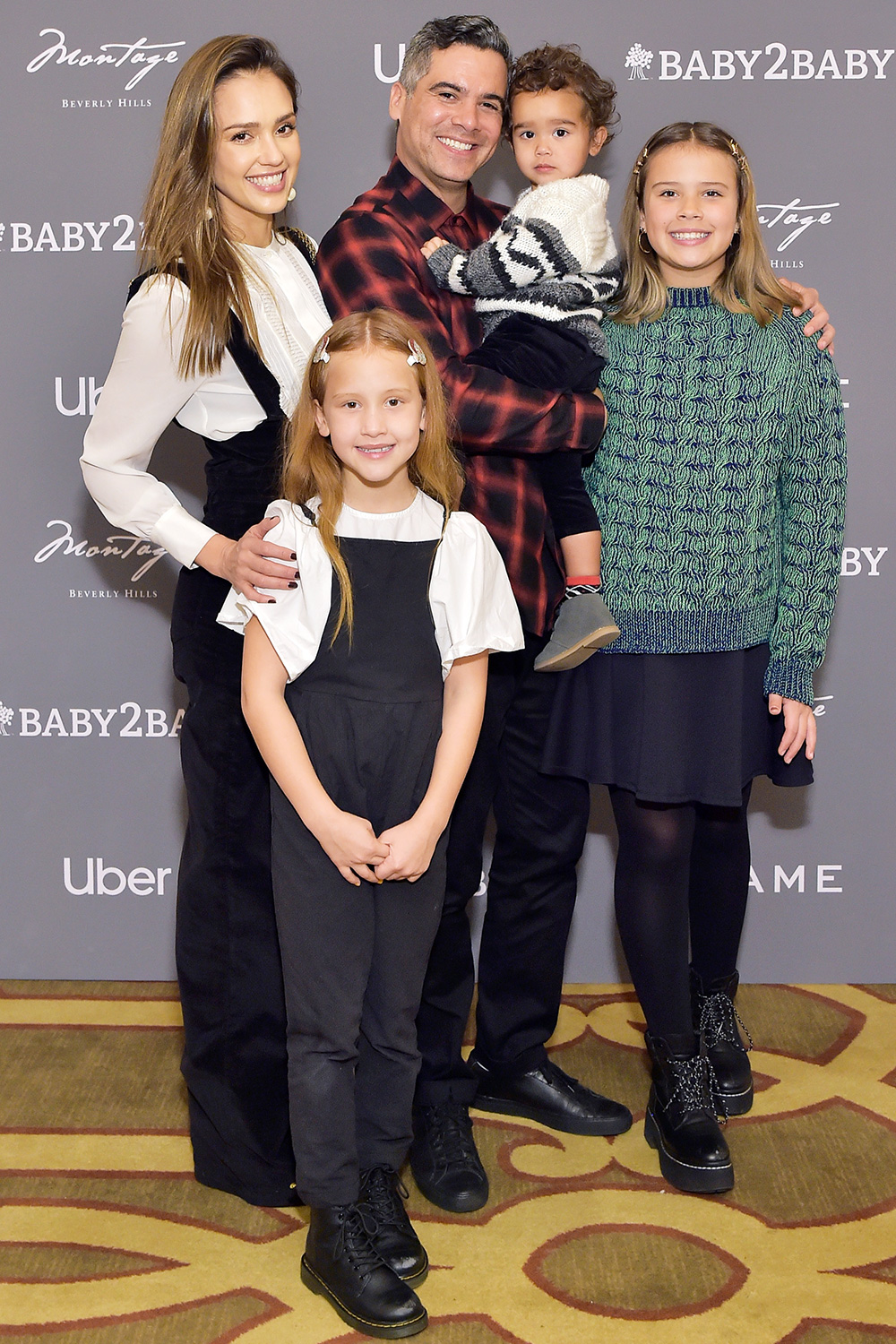 Jessica Alba, Haven Garner Warren, Cash Warren, Hayes Alba Warren and Honor Marie Warren attend The Baby2Baby Holiday Party Presented By FRAME And Uber at Montage Beverly Hills on December 15, 2019 in Beverly Hills, California