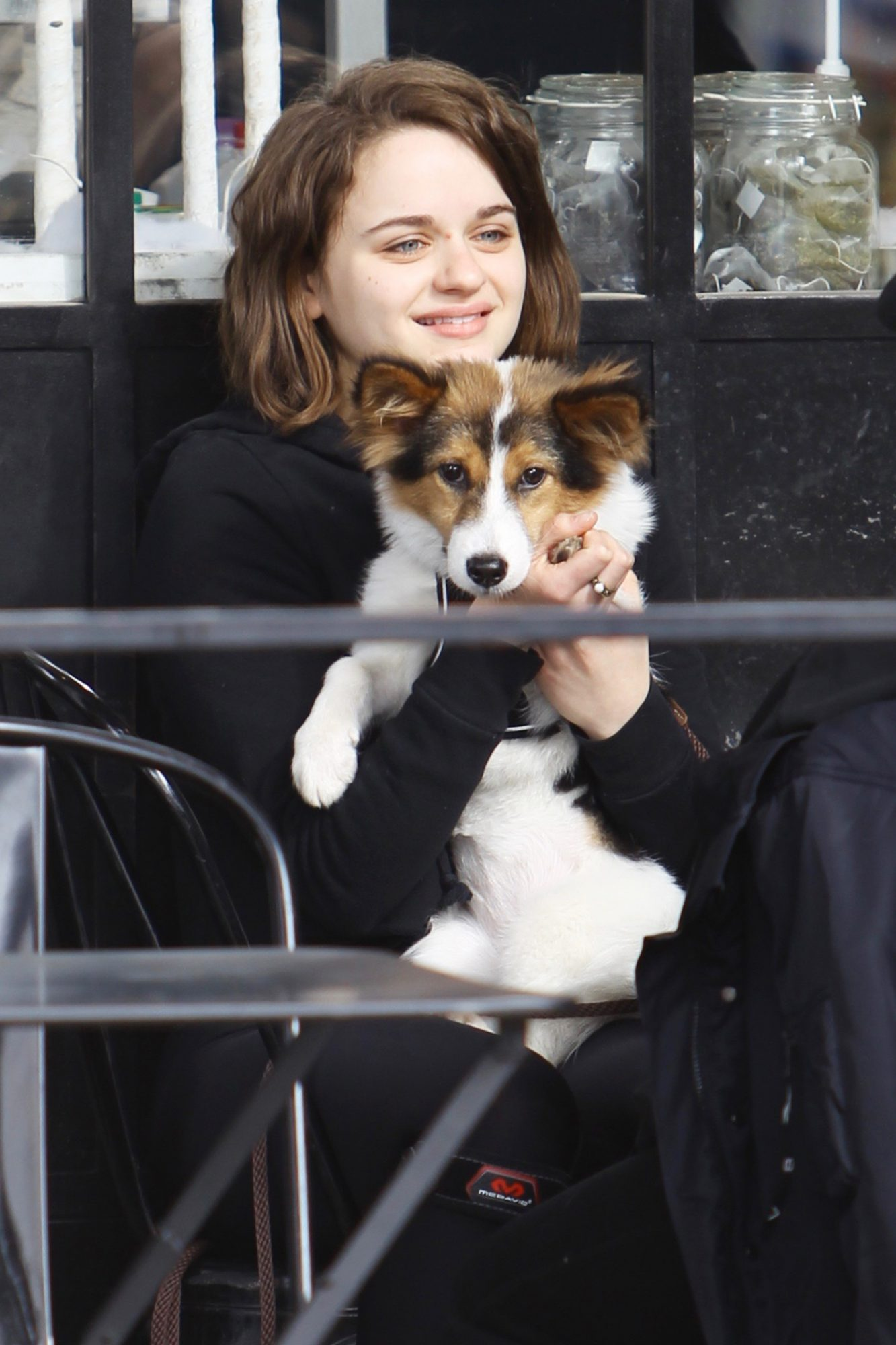 Joey King cuddles with a puppy while out for breakfast. 01 Dec 2019