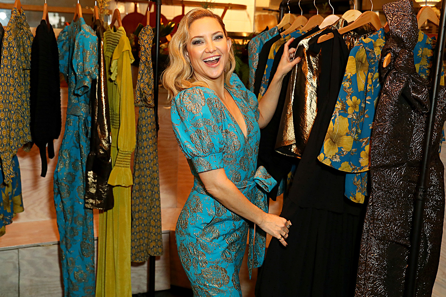 Kate Hudson hosts a cocktail event to celebrate Happy X Nature Eco-Evening Collection at The Butchers Daughter on December 12, 2019 in Venice, California