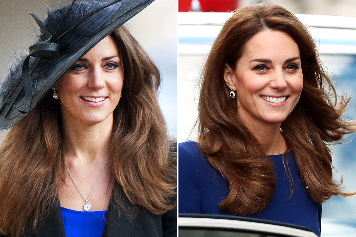 Kate Middleton in 2009 and 2019