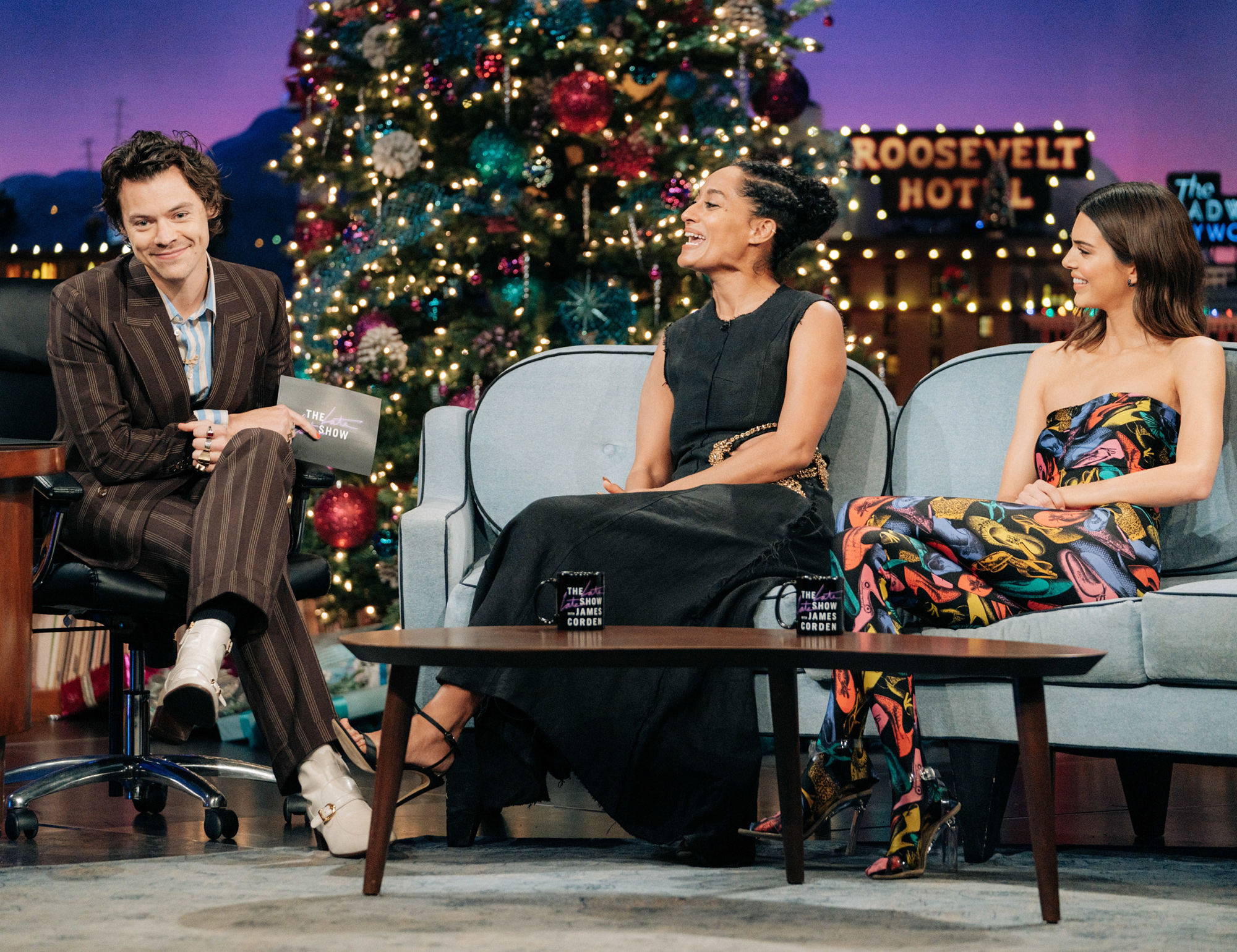 Harry Styles guest-hosts The Late Late Show with James Corden airing Tuesday, December 10, 2019, with guests Tracee Ellis Ross and Kendall Jenner