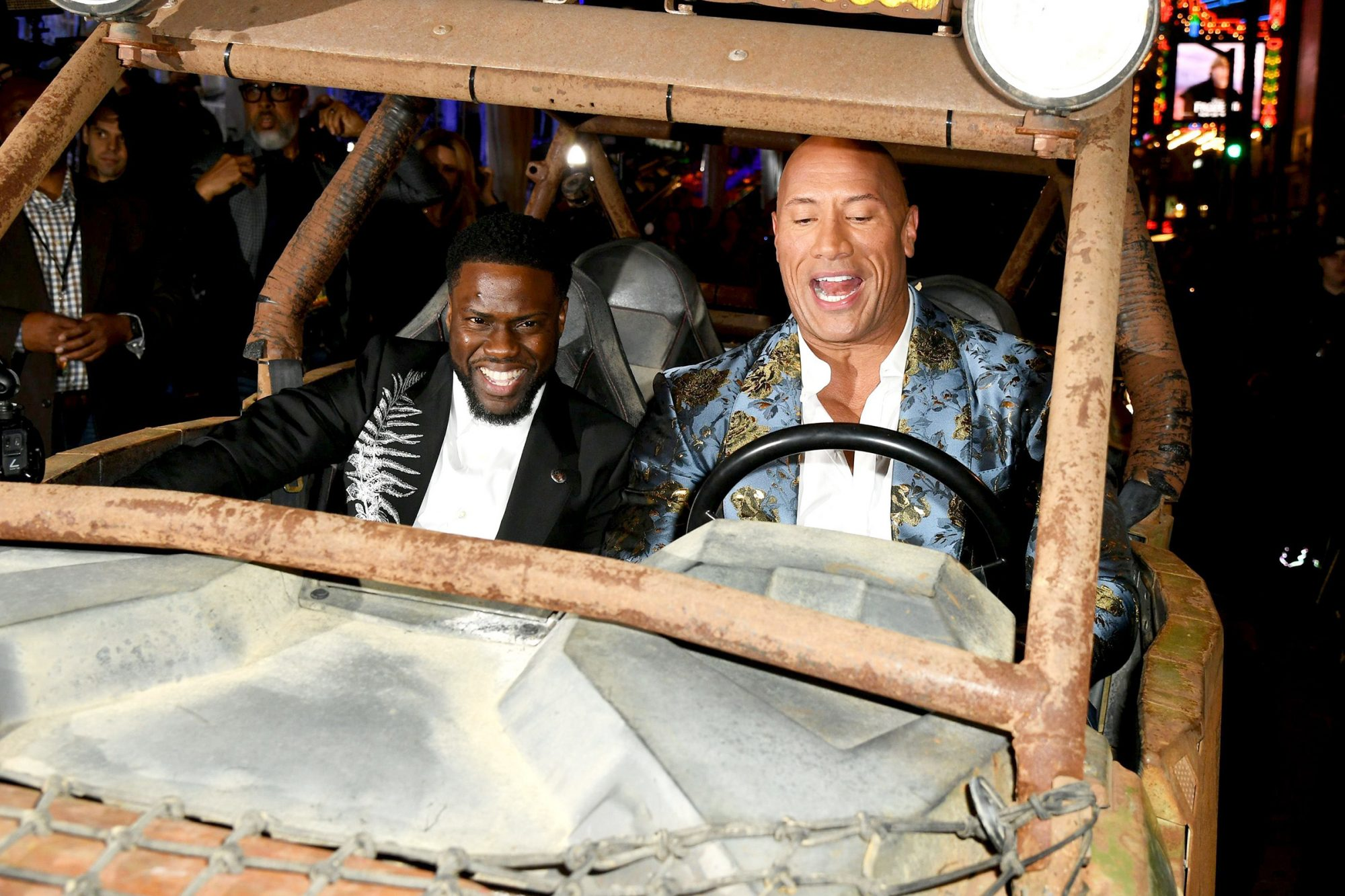"""Kevin Hart and Dwayne Johnson attends the premiere of Sony Pictures' """"Jumanji: The Next Level"""" at TCL Chinese Theatre on December 09, 2019 in Hollywood, California"""