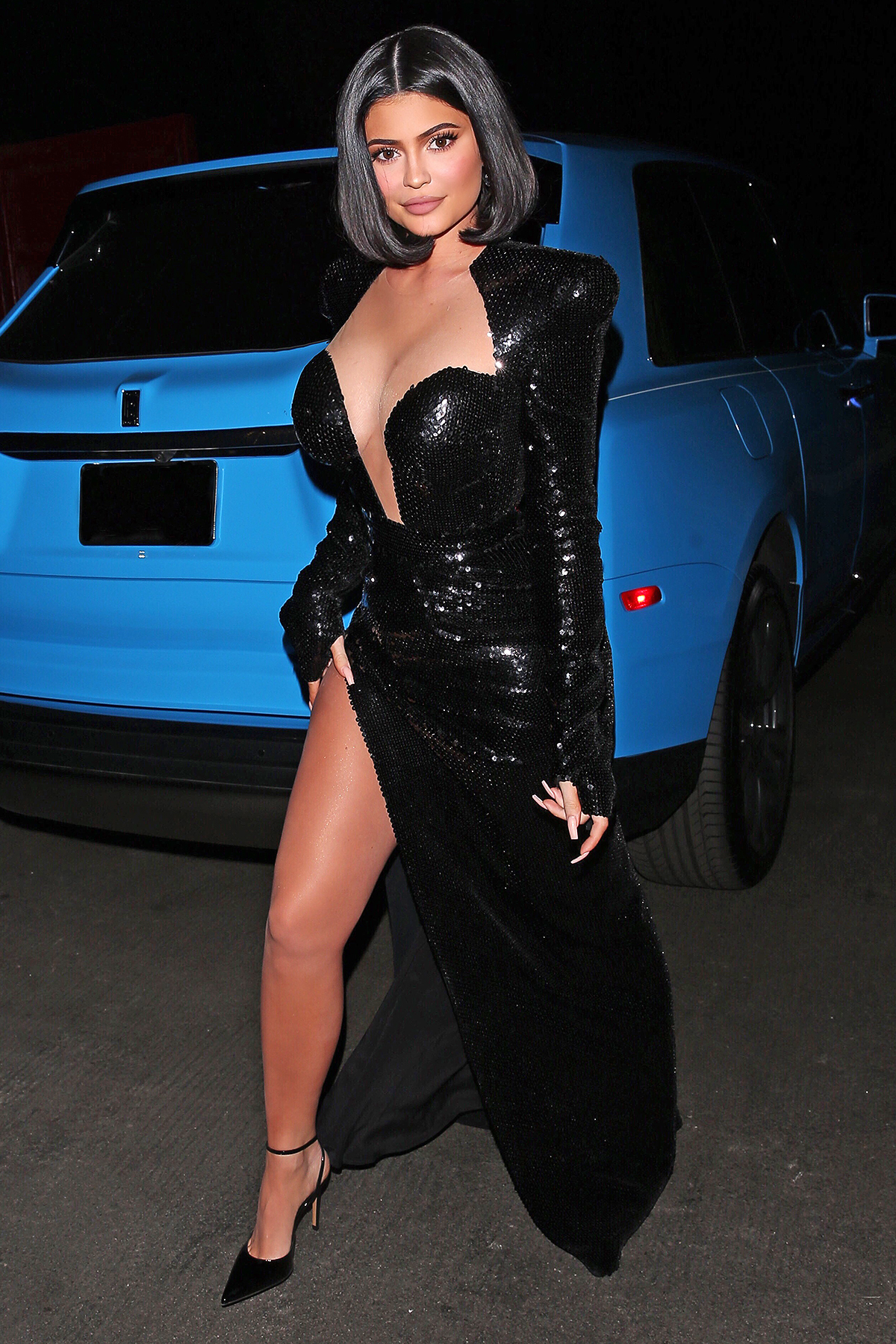 Reality TV Star, Kylie Jenner stuns in a full length sparkling Black high split dress as she was seen heading to Music Mogul 'P.Diddy's' Private Exclusive A-List Party in Holmby Hills, CA