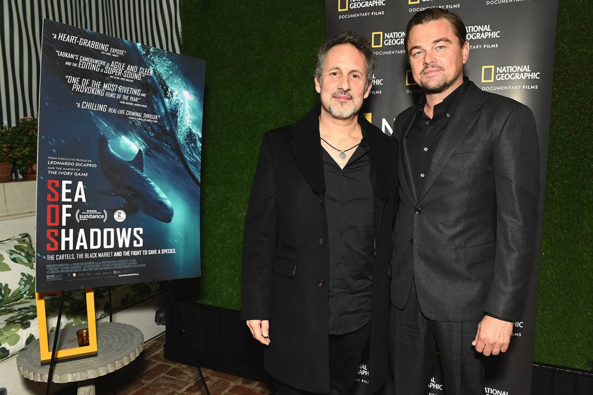 Leonardo DiCaprio (executive producer of the film) along with director Richard Ladkani at a special event this week for National Geographic's documentary SEA OF SHADOWS.