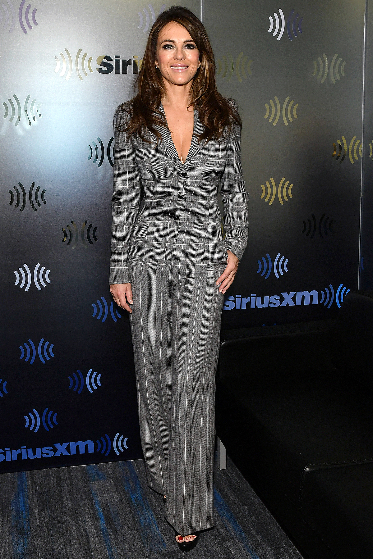 NEW YORK, NEW YORK - DECEMBER 11: (EXCLUSIVE COVERAGE) Elizabeth Hurley visits The Jenny McCarthy Show at SiriusXM Studios on December 11, 2019