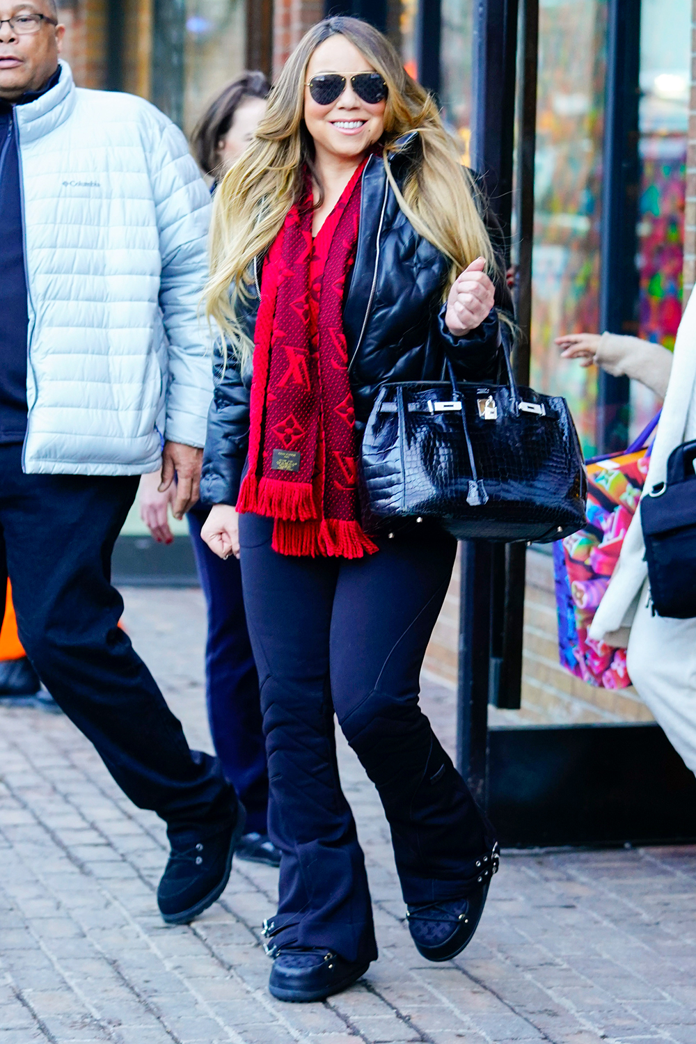 Mariah Carey and Bryan Tanaka go for last minute Christmas shopping before having dinner at French Alpine Bistro in Aspen, Colorado