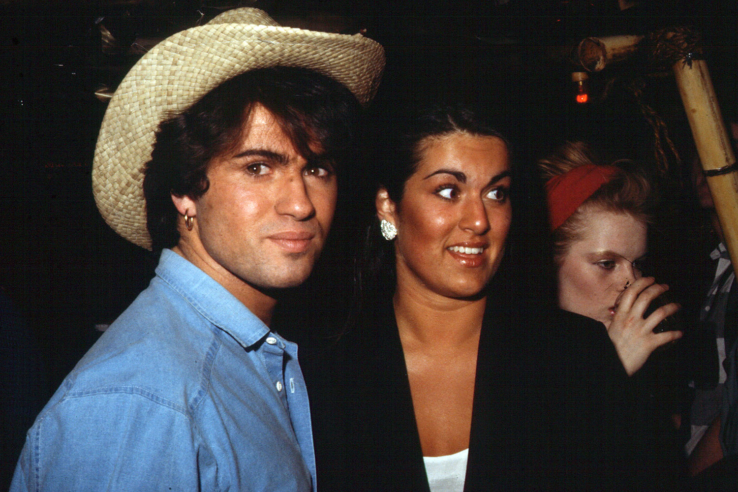 George Michael of Wham with sister Melanie in the mid 1980s