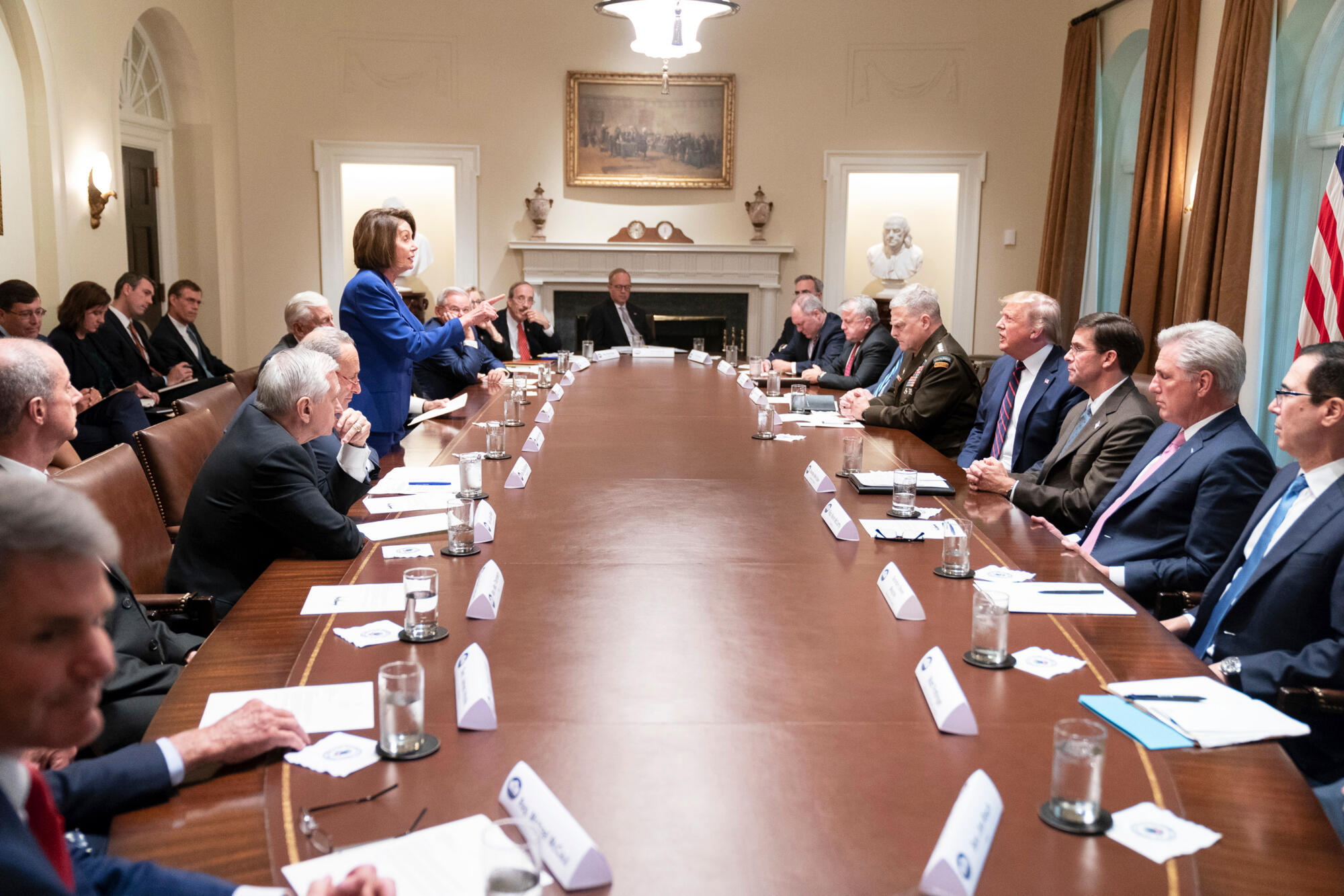 Nancy pelosi in the White House cabinet meeting