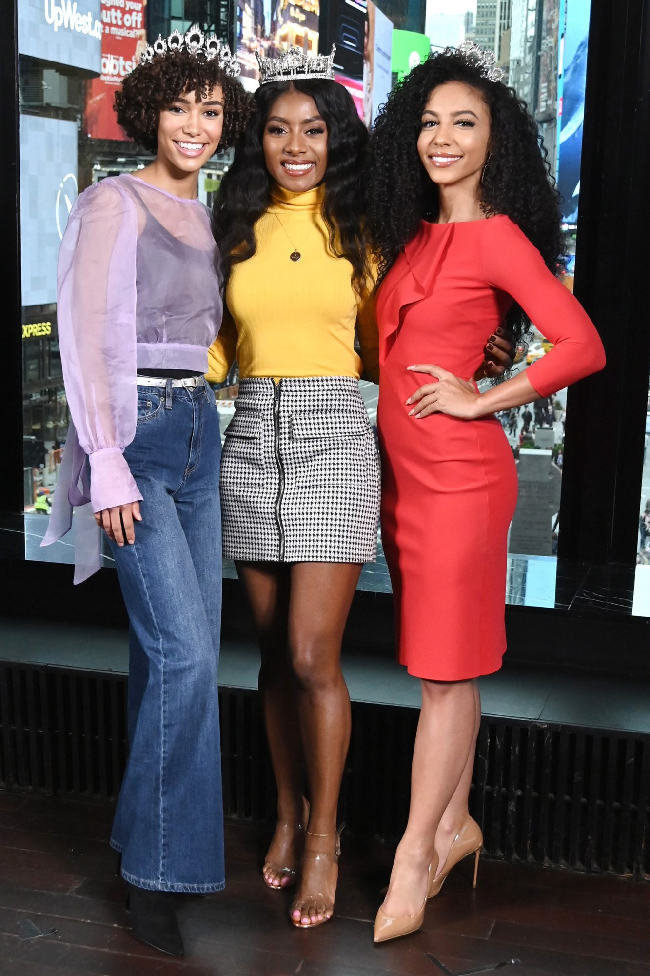 """Miss Teen USA Kaliegh Garris, Miss America Nia Franklin and Miss USA Cheslie Kryst visit """"Extra"""" at R Lounge at the Renaissance Hotel on October 28, 2019"""