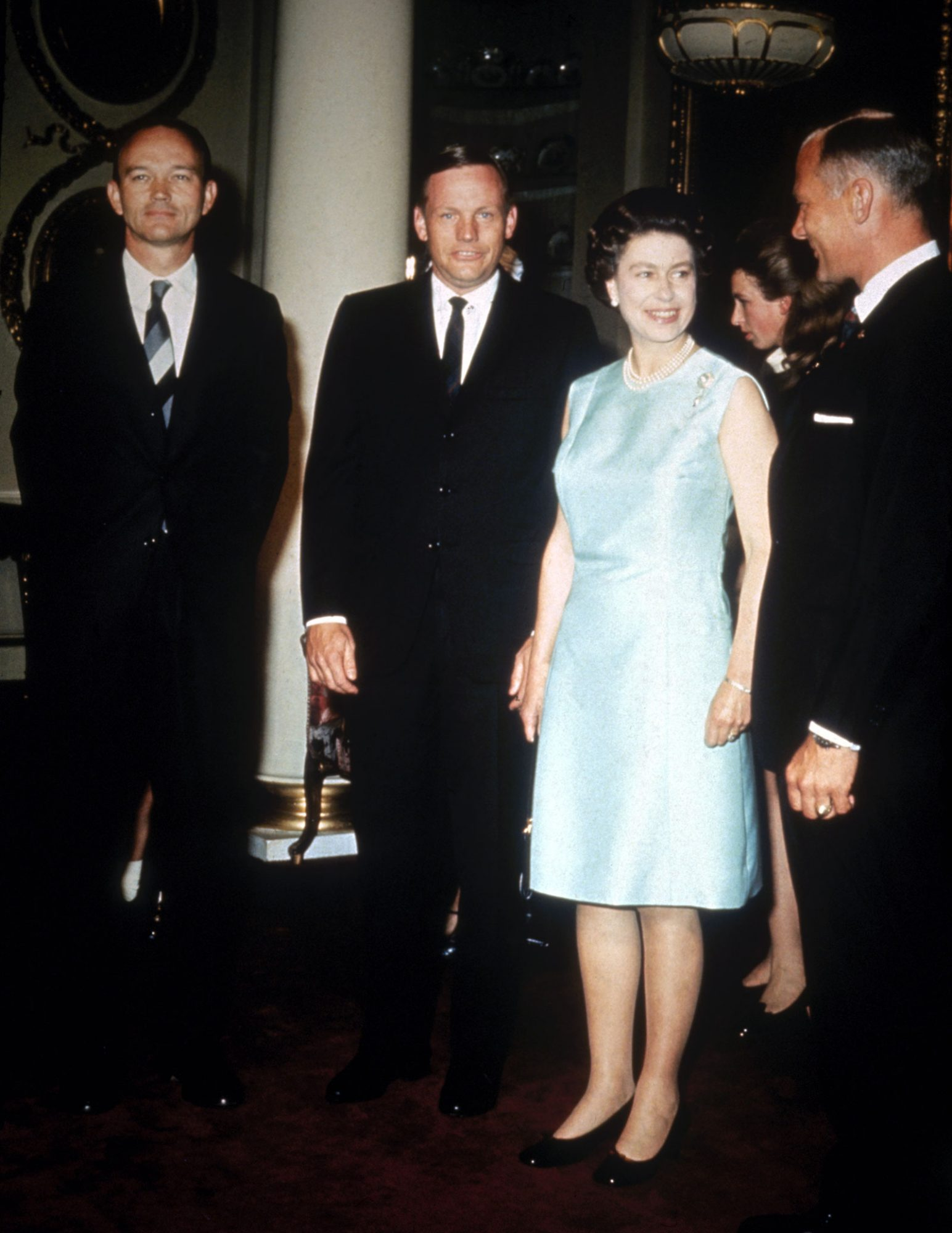 ueen Elizabeth II with the Apollo 11 astronauts at Buckingham Palace, 1970. Left to right: Michael Collins, Neil Armstrong and Edwin 'Buzz' Aldrin.