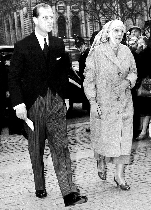 The Duke of Edinburgh escorting his mother, the Princess Alice of BATTENBERG