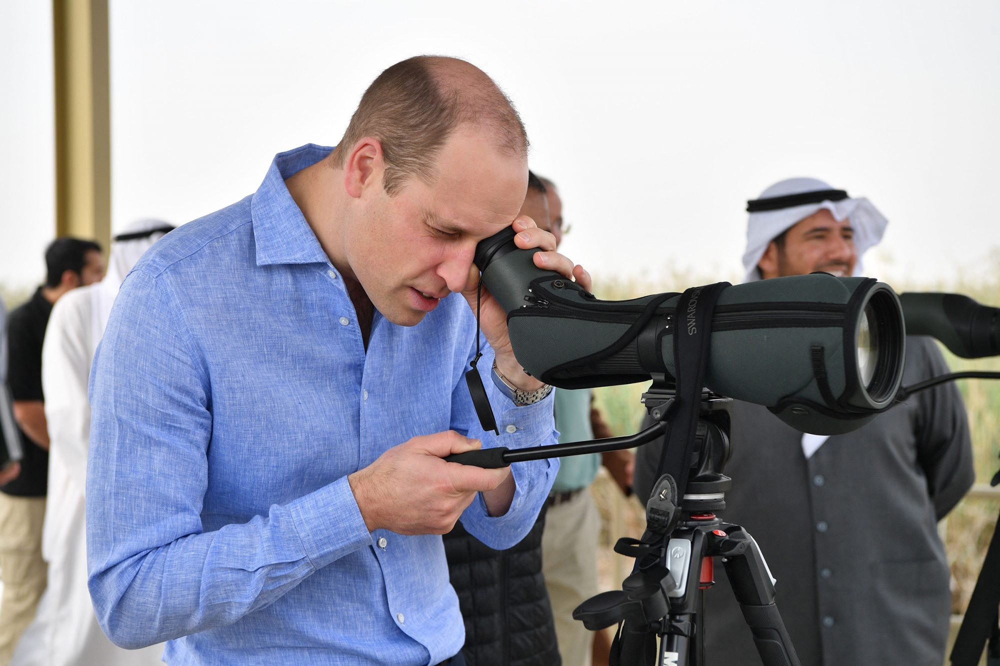 Prince William during a visit to the Jahra Nature Reserve Prince William visit to Kuwait - 02 Dec 2019 Prince William visits Kuwait City's wetlands at the Jahra Nature Reserve to learn more about Kuwait's ambitious plans to protect its natural environment from human and environmental challenges. His Royal Highness will meet scientists from Kuwait's Environmental Public Authority and the UK's Centre for Environment, Fisheries & Aquaculture Science (Cefas) agency to learn more about their partnership to promote Kuwait's biodiversity and inform its approach to marine environment conservation. The Duke will also visit the reserve's salt marshes, reed beds and sandy sabkha flats, and will join scientists in a number of activities studying the wetlands' wildlife