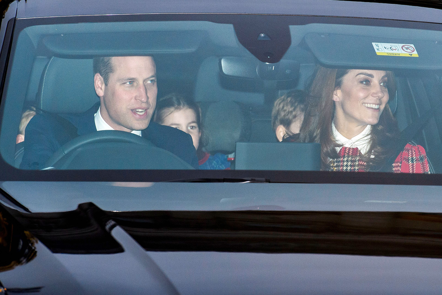 Prince William with Prince George and Catherine Duchess of Cambridge Royal family Christmas Lunch at Buckingham Palace, London, UK - 18 Dec 2019