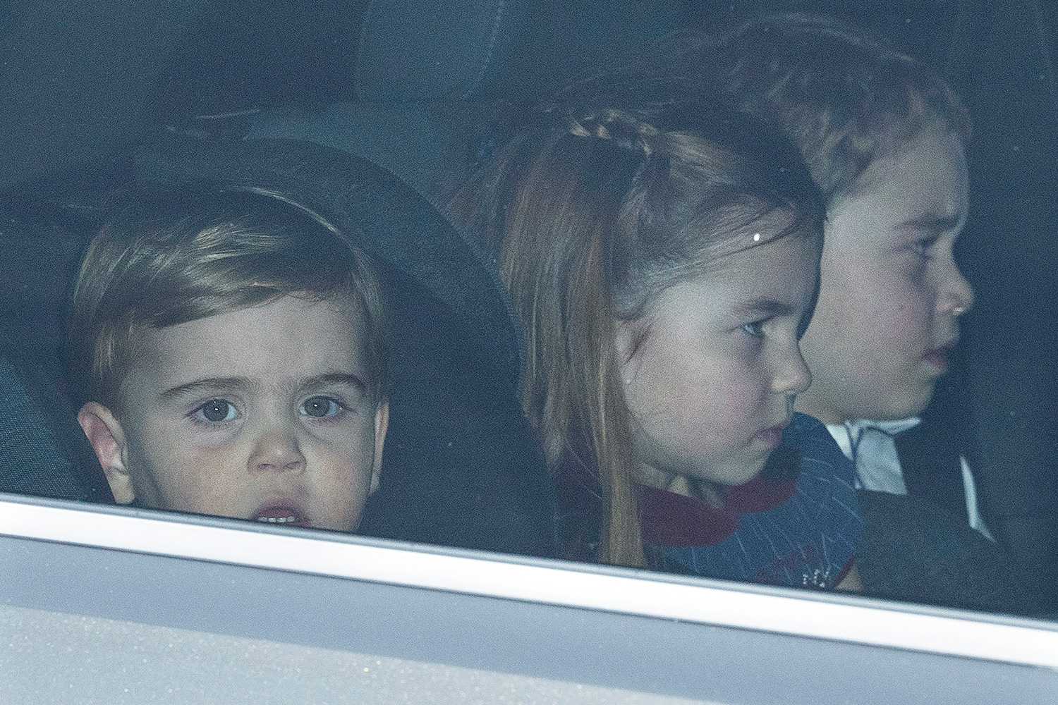 Prince Louis , Princess Charlotte and Prince George leaving The Queen's Christmas Party at Buckingham Palace in London