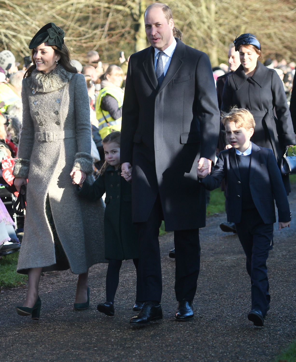 The Duke and Duchess of Cambridge and their children Prince George and Princess Charlotte arriving to attend the Christmas Day morning church service at St Mary Magdalene Church in Sandringham, Norfolk. (Photo by Joe Giddens/PA Images via Getty Images)