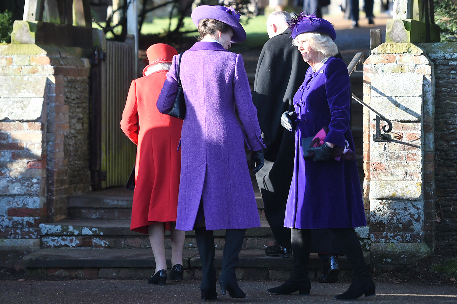 Queen Elizabeth II, the Princess Royal and the Duchess of Cornwall arriving to attend the Christmas Day morning church service at St Mary Magdalene Church in Sandringham, Norfolk. (Photo by Joe Giddens/PA Images via Getty Images)