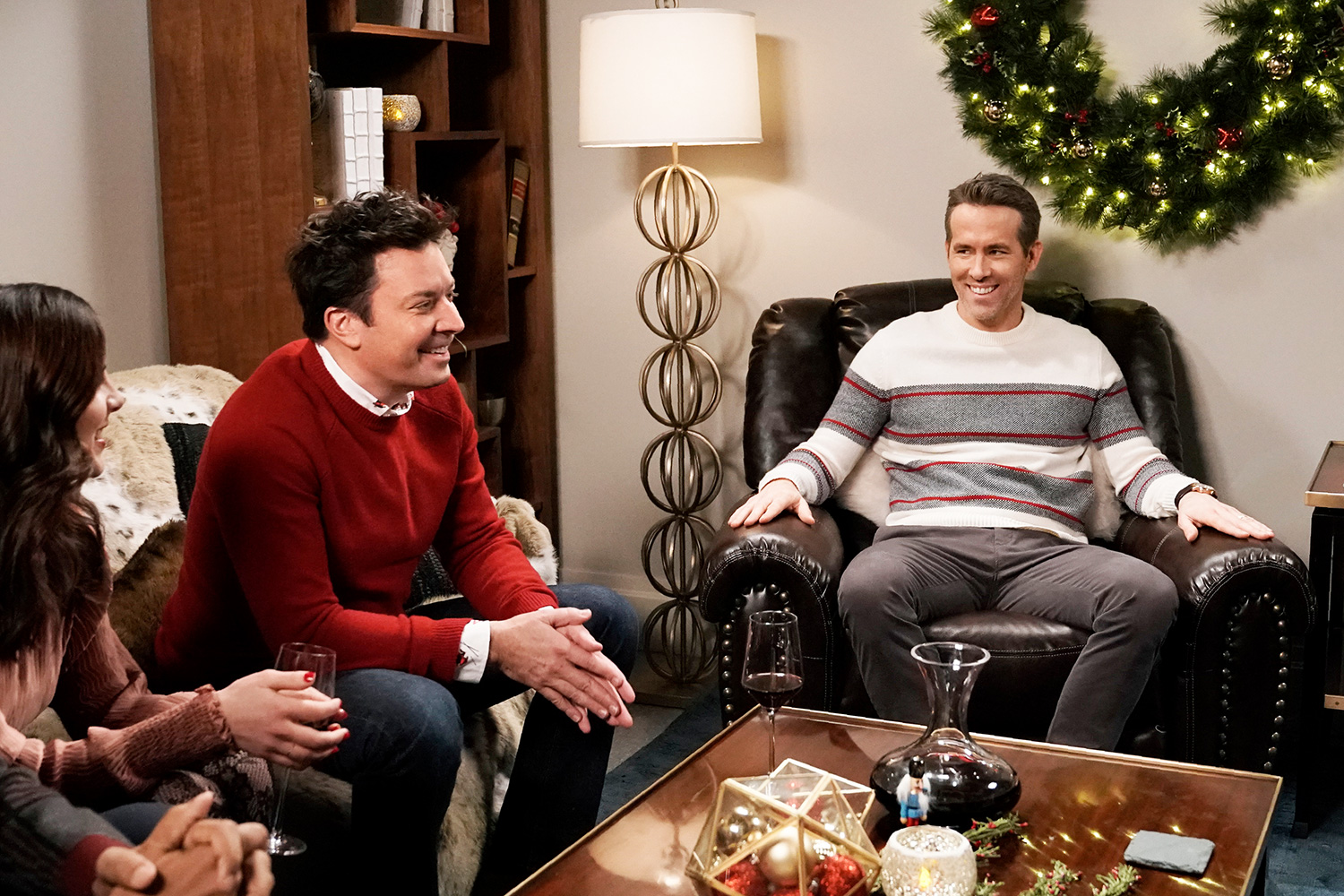 "Jimmy Fallon and actor Ryan Reynolds during the ""Candle Commercial"" sketch on December 18, 2019"