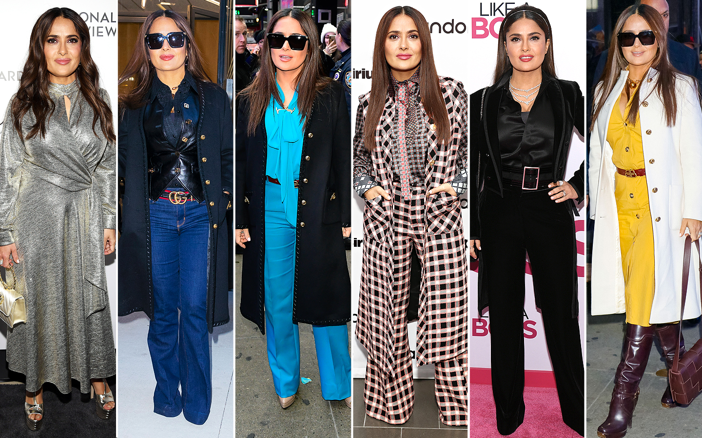 salma hayek outfit changes