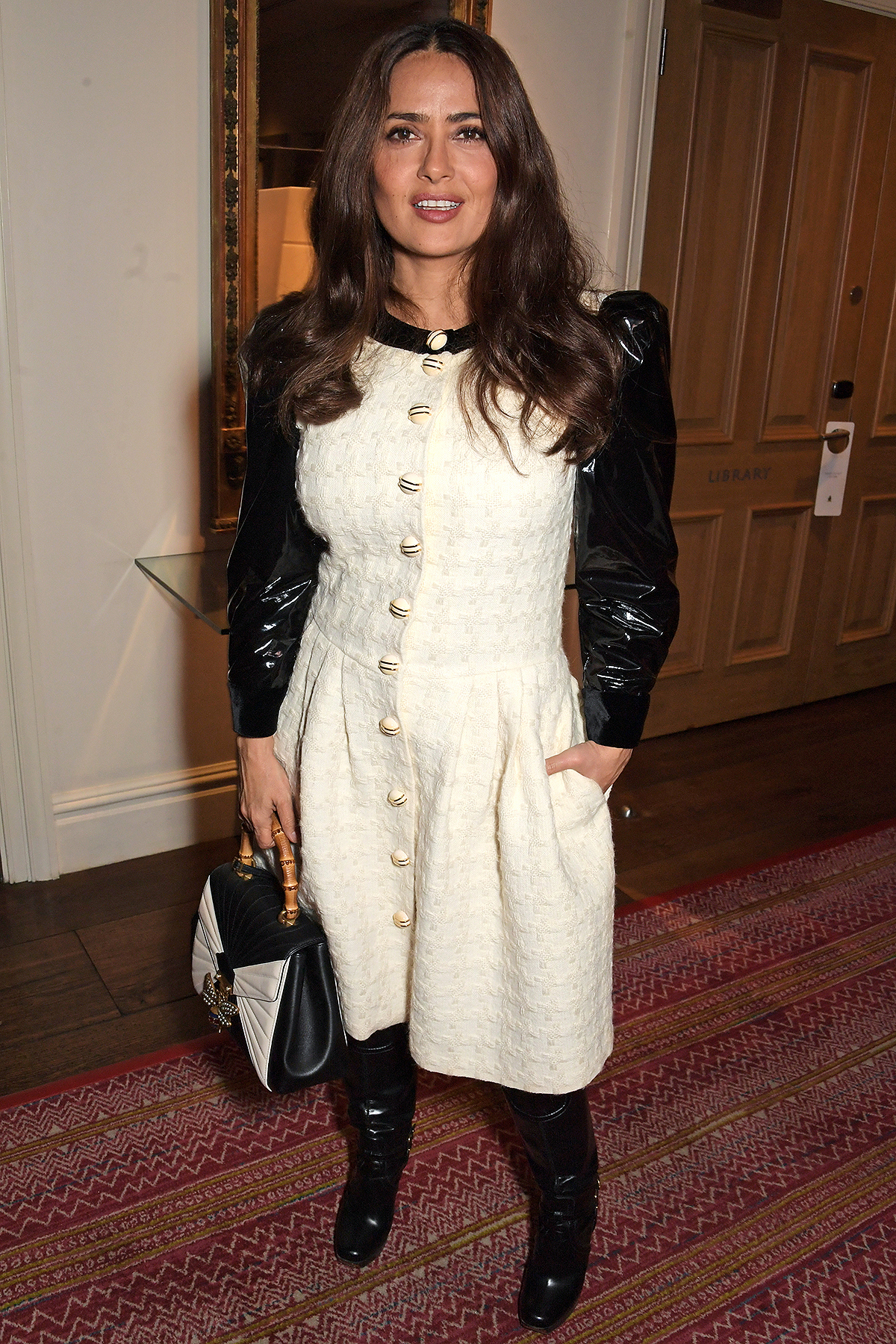 """Salma Hayek attends a special screening and reception for NETFLIX's """"Marriage Story"""" hosted by Alfonso Cuaron with Noah Baumbach at The Soho Hotel on December 6, 2019"""