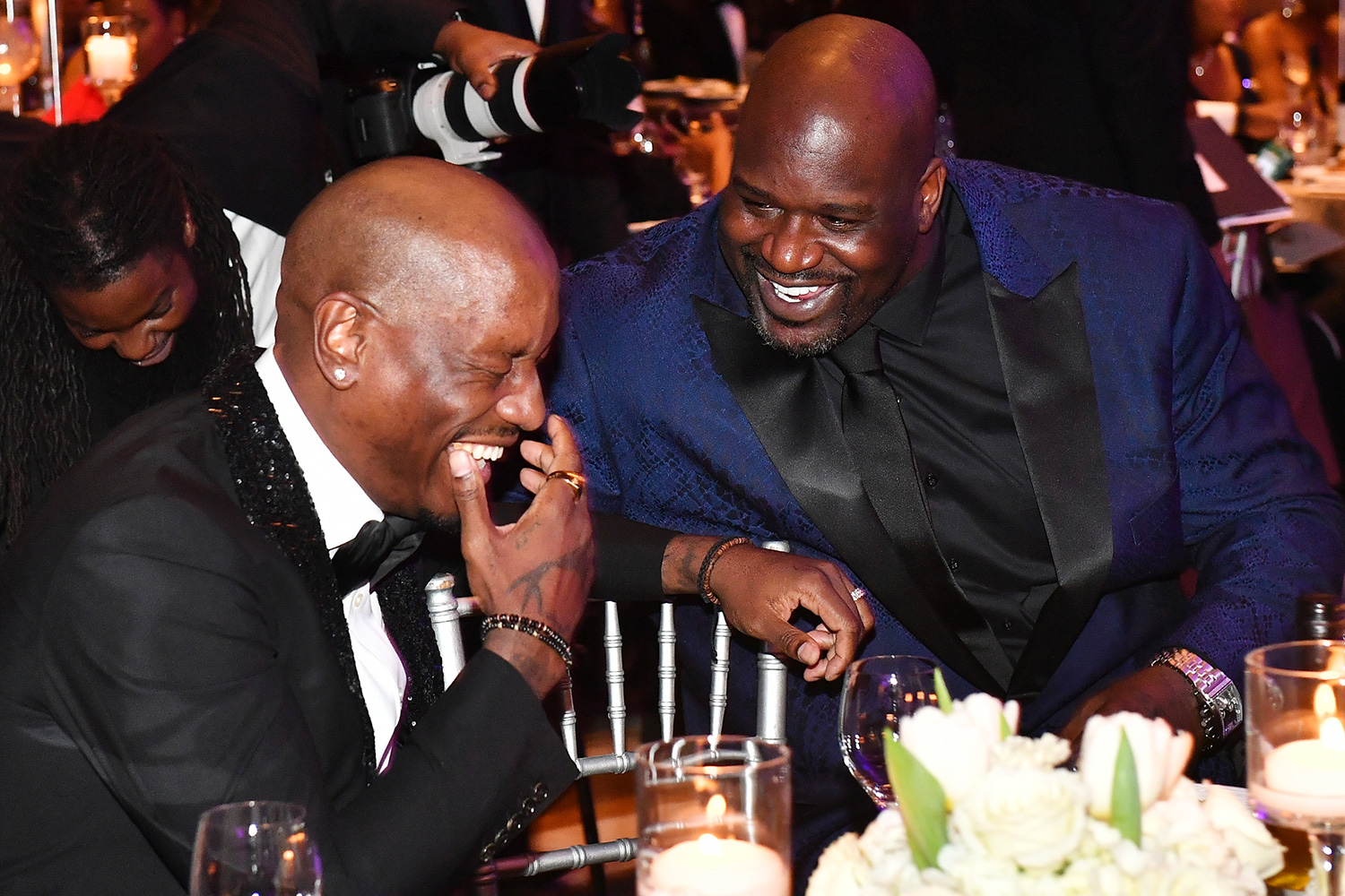 Tyrese Gibson and Shaquille O'Neal attend 36th Annual Atlanta UNCF Mayor's Masked Ball at Atlanta Marriott Marquis on December 21, 2019 in Atlanta, Georgia
