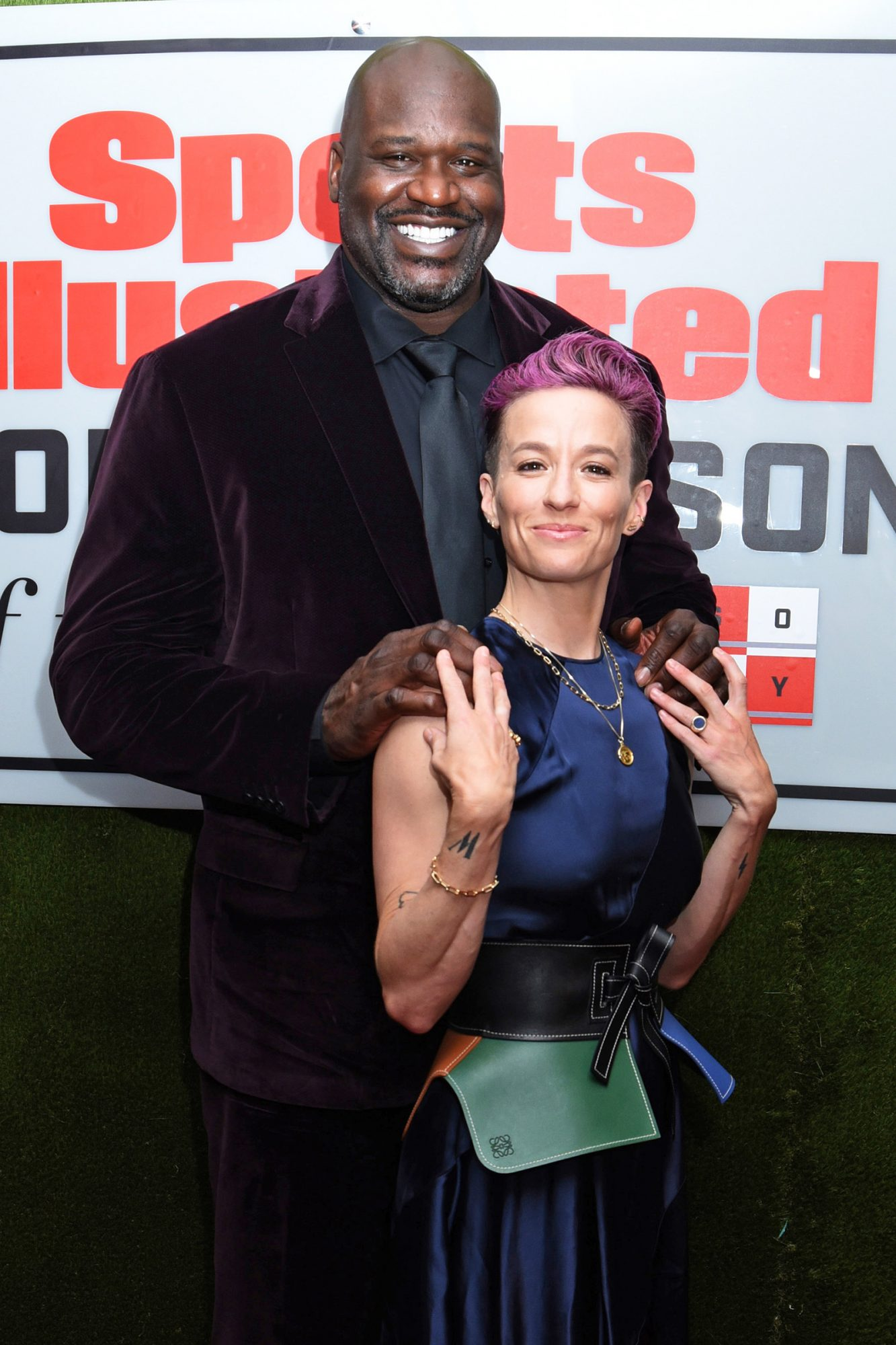 Shaquille O'Neal and Megan Rapinoe at the Sports Illustrated Annual Sportsperson of the Year Awards, held at the Ziegfeld Ballroom in New York