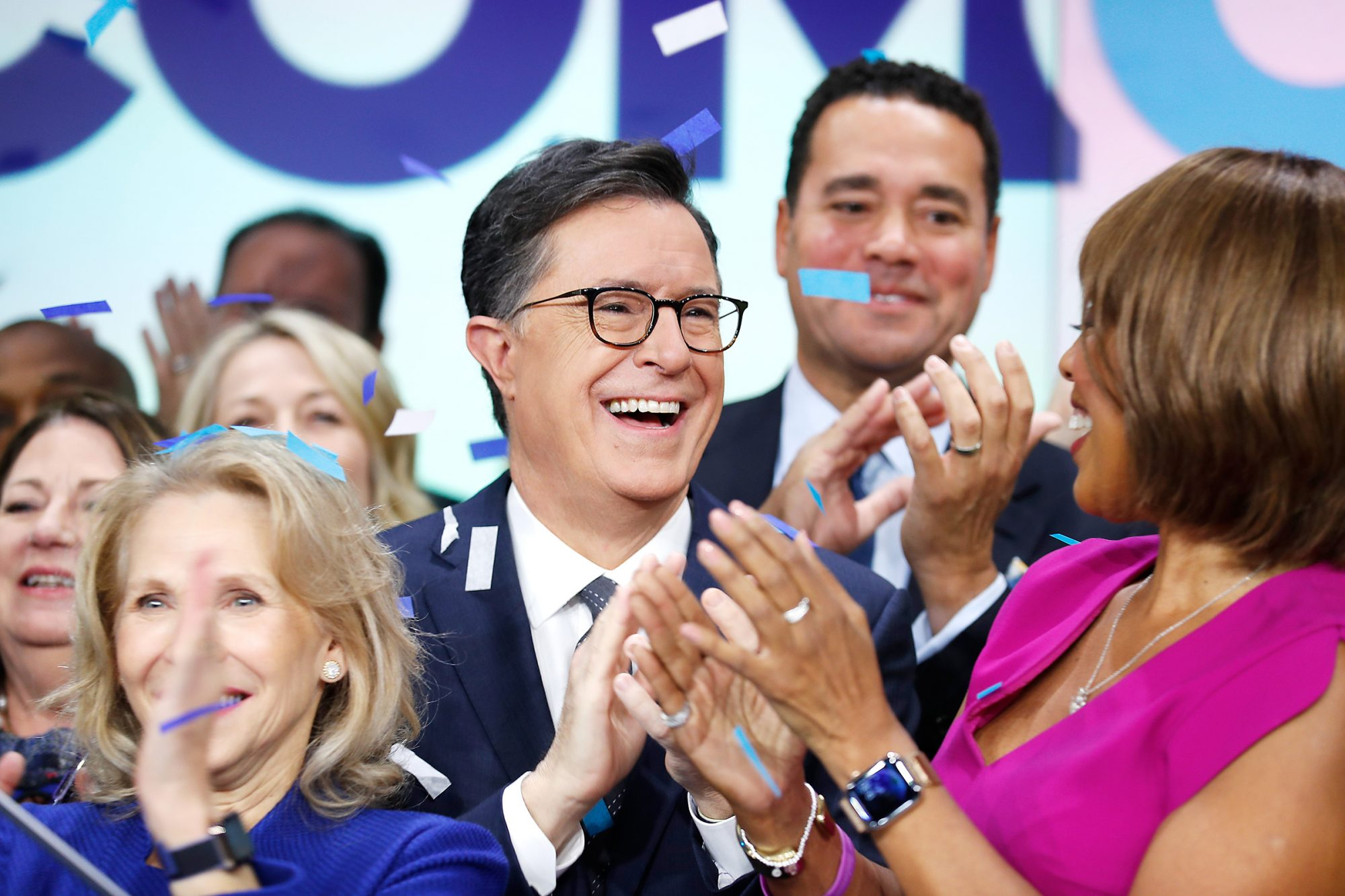 Stephen Colbert and Gayle King attend as ViacomCBS Inc. rings the opening bell at NASDAQ on December 05, 2019 in New York City