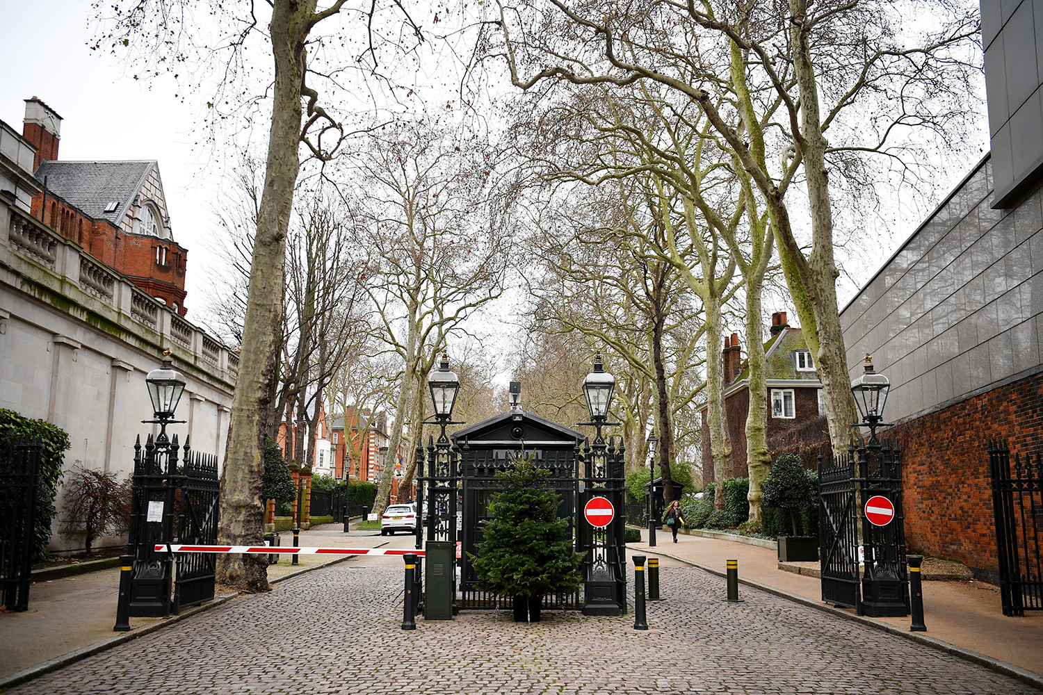 A general view of the security gates at Palace Green, the location of Tamara Ecclestone's home in Kensington , on December 16, 2019 in London, England. Thieves have stolen jewellery reportedly worth £50m from the home of Tamara Ecclestone. The Formula 1 heiress is currently on holiday in Lapland