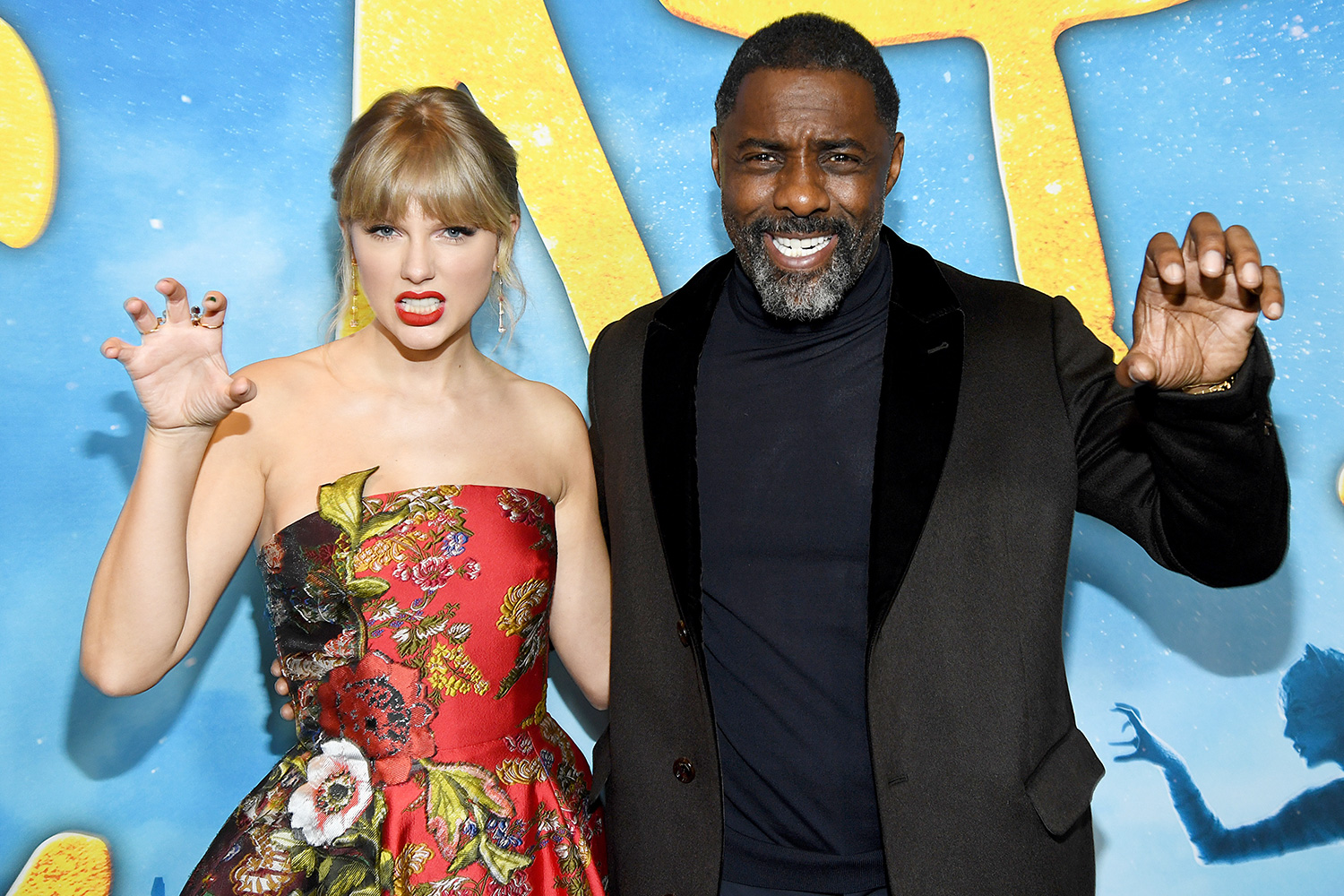 Taylor Swift and Idris Elba attend The World Premiere of Cats, presented by Universal Pictures on December 16, 2019 in New York City