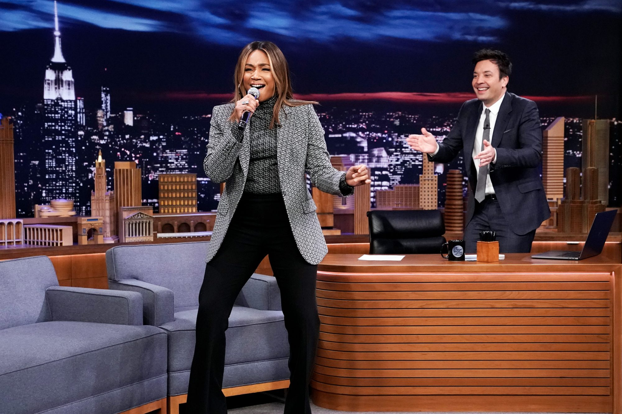 Tiffany Haddish during an interview with host Jimmy Fallon on December 1, 2019