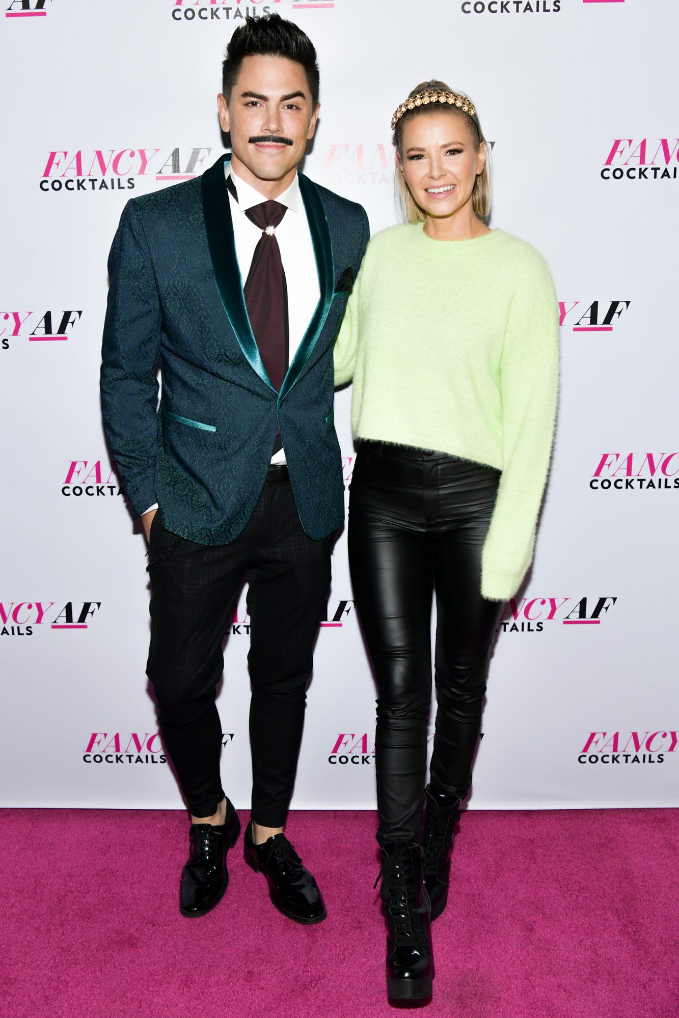"""Tom Sandoval (L) and Ariana Madix attend the Official Launch Event for """"Fancy AF Cocktails"""" by Ariana Madix, Tom Sandoval and Danny Pellegrino at SkyBar at the Mondrian Los Angeles on December 10, 2019 in West Hollywood, California"""