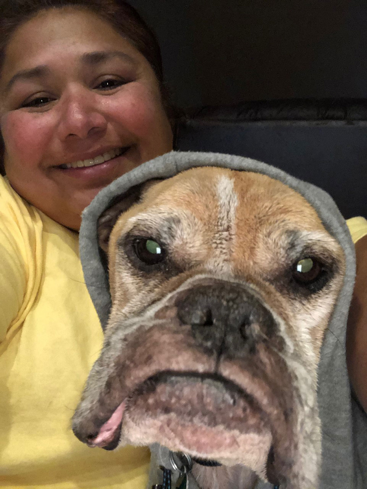 woman reunited with dog