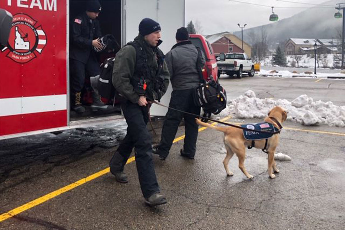 The Coeur d'Alene Fire Department K-9 Team was called to respond to Silver Mountain for an avalanche