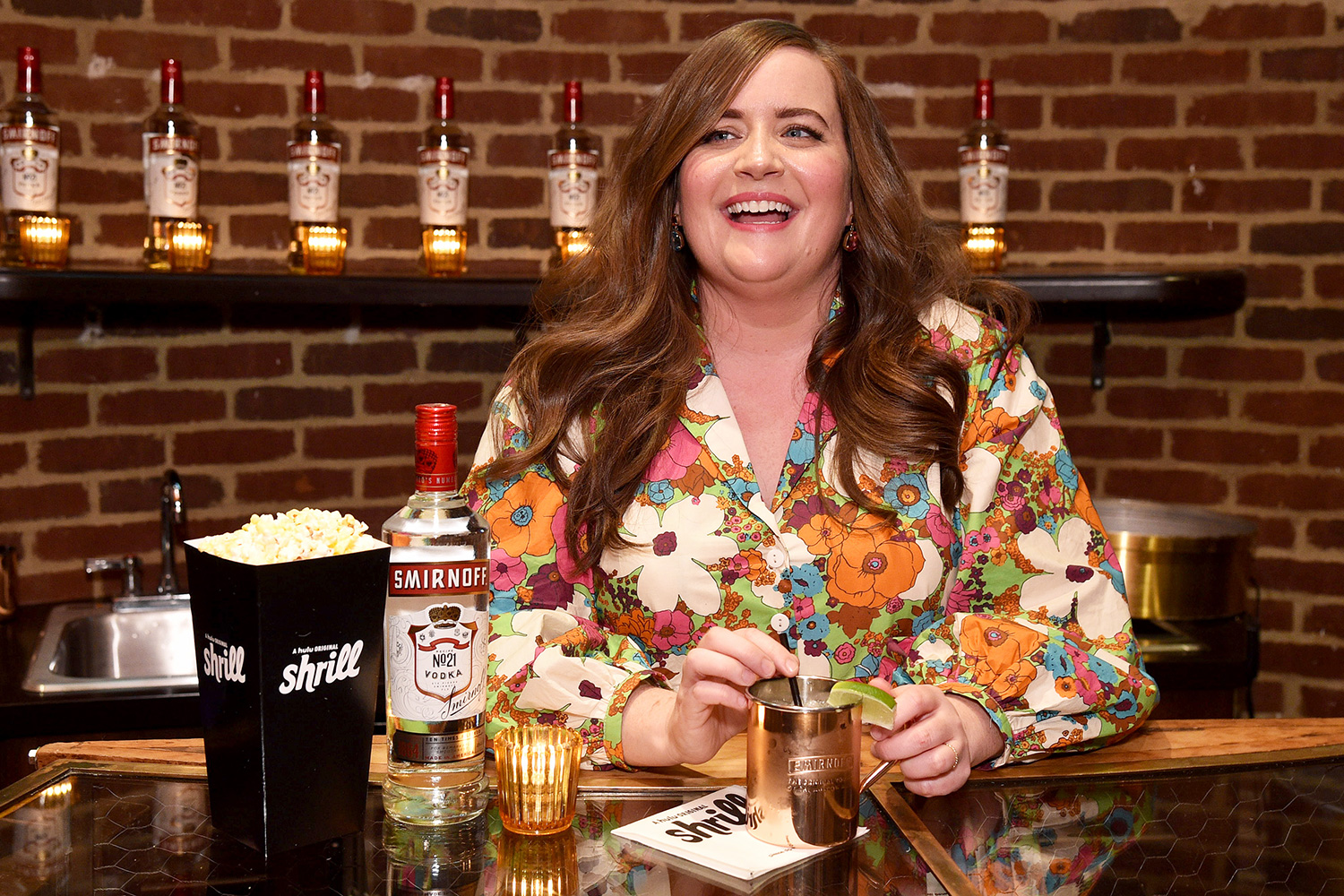 """Aidy Bryant celebrating the Season 2 premiere of """"Shrill"""" while enjoying a Smirnoff Moscow Mule on January 23, 2020 in New York City"""