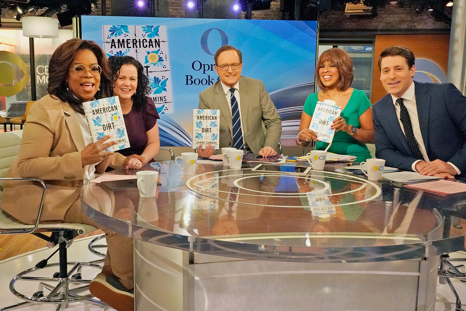 Oprah Winfrey with author Jeanine Cummins Gayle King, Anthony Mason and Tony Dokoupil Co-Hosts of CBS THIS MORNING