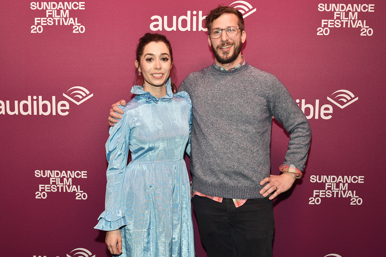 """Cristin Milioti (L) and Andy Samberg attend the """"Palm Springs"""" premiere party at Audible Speakeasy during the 2020 Sundance Film Festival on January 26, 2020 in Park City, Utah"""