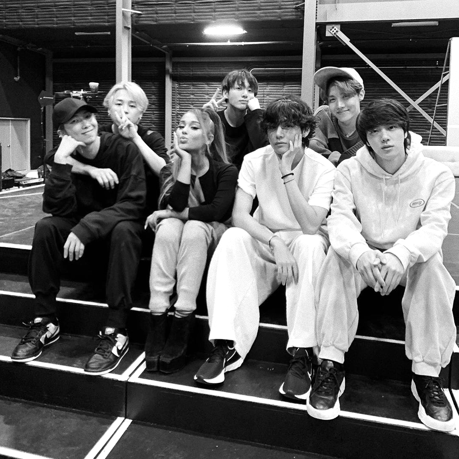 grammys 2020 ariana grande shares rehearsal picture with bts people com grammys 2020 ariana grande shares