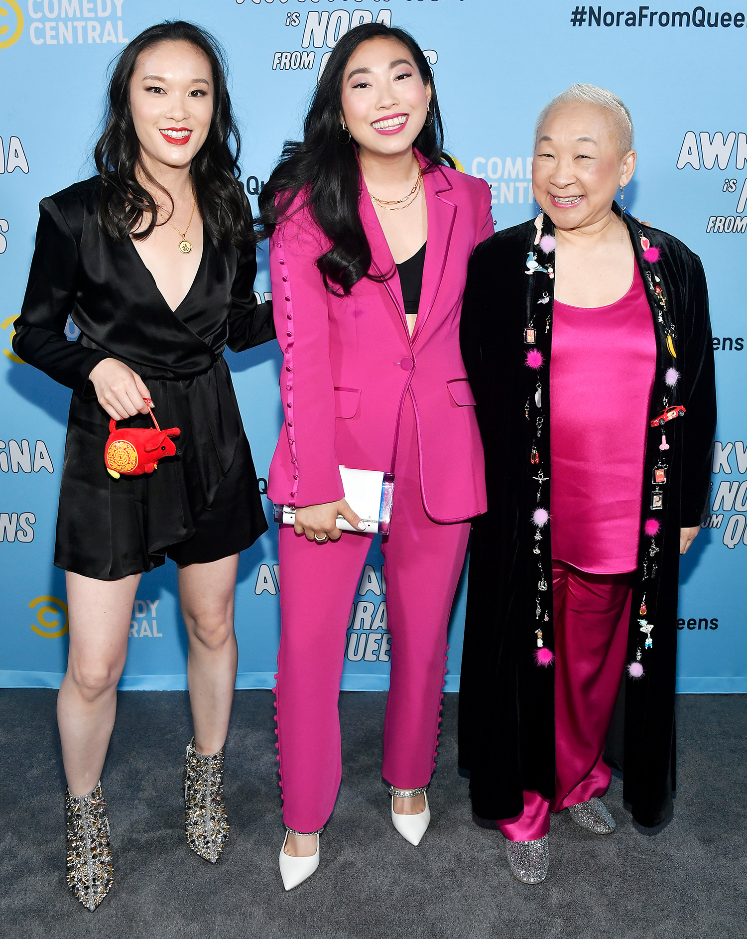 """Teresa Hsiao, Awkwafina, and Lori Tan Chinn attend Comedy Central's """"Awkwafina is Nora From Queens"""" Premiere Party at Valentine DTLAon January 15, 2020 in Los Angeles"""
