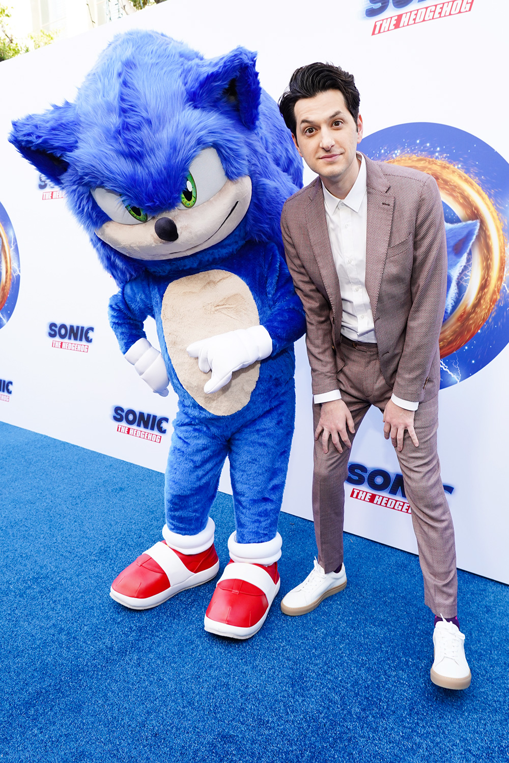 Ben Schwartz (R) and Sonic attend Sonic The Hedgehog Family Day Event at the Paramount Theatre on January 25, 2020 in Hollywood, California
