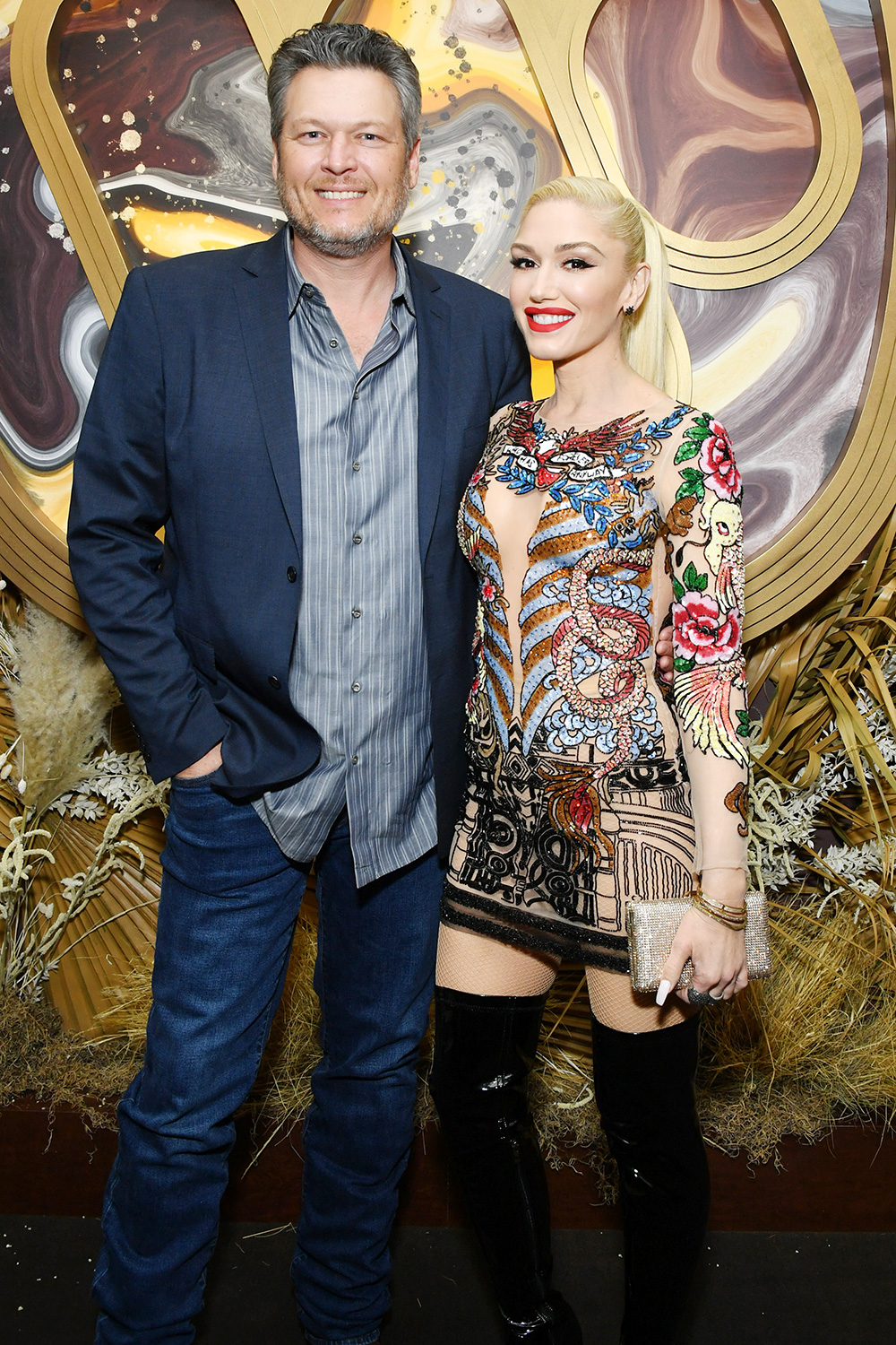 Blake Shelton and Gwen Stefani attend the Warner Music Group Pre-Grammy Party at Hollywood Athletic Club on January 23, 2020 in Hollywood, California