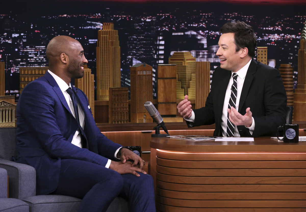 Kobe Bryant during an interview with host Jimmy Fallon
