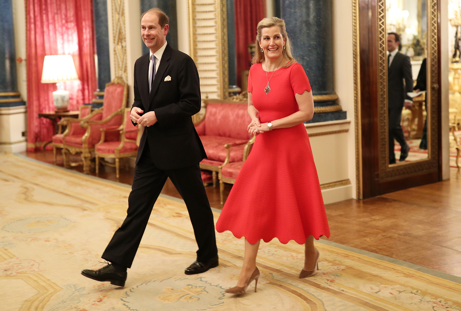 The Earl and Countess of Wessex arrives at a reception at Lonadon's Buckingham Palace to mark the UK-Africa Investment Summit.