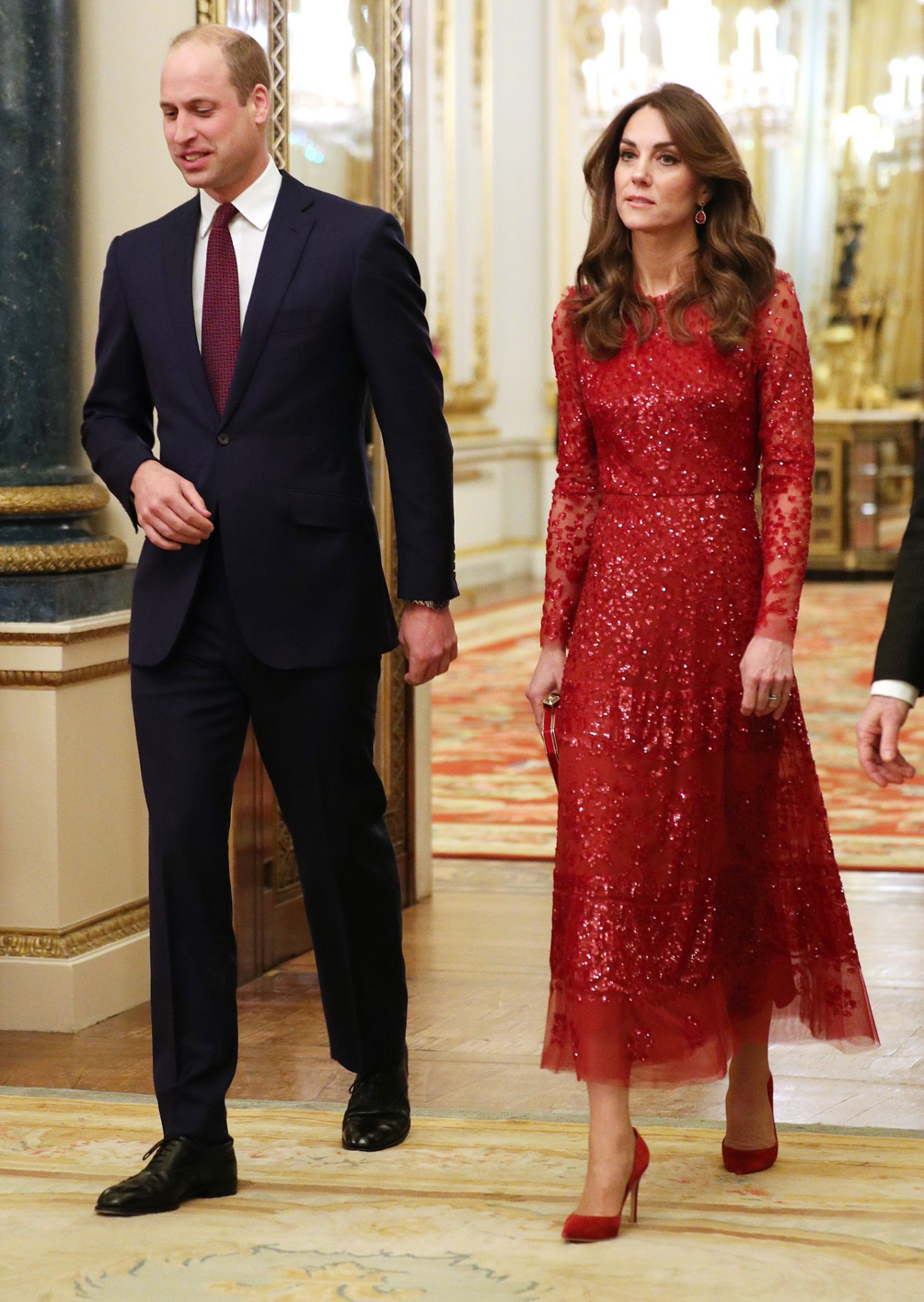 The Duke and Duchess of Cambridge arrive at a reception at London's Buckingham Palace to mark the UK-Africa Investment Summit.