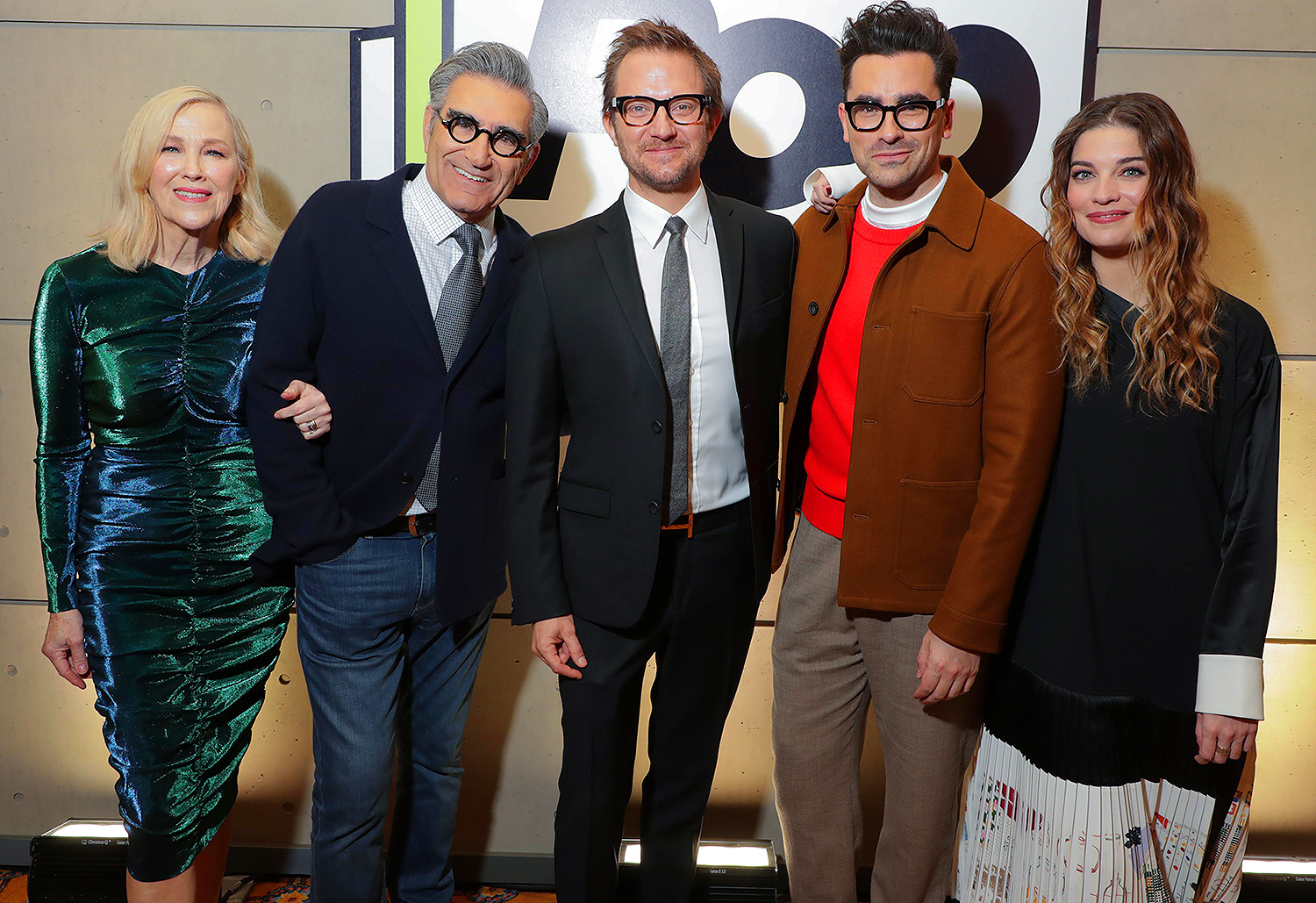 Catherine O'Hara, Executive Producer Eugene Levy, President of Pop TV Brad Schwartz, Executive Producer Dan Levy and Annie Murphy from SCHITT'S CREEK