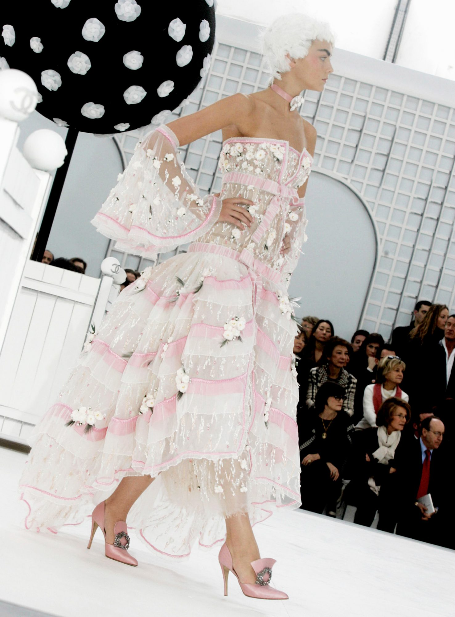 A model walks down the runway during the Chanel fashion show, part of Paris Fashion Week (Haute Couture) Spring/Summer 2005 on January 25, 2005 in Paris, France
