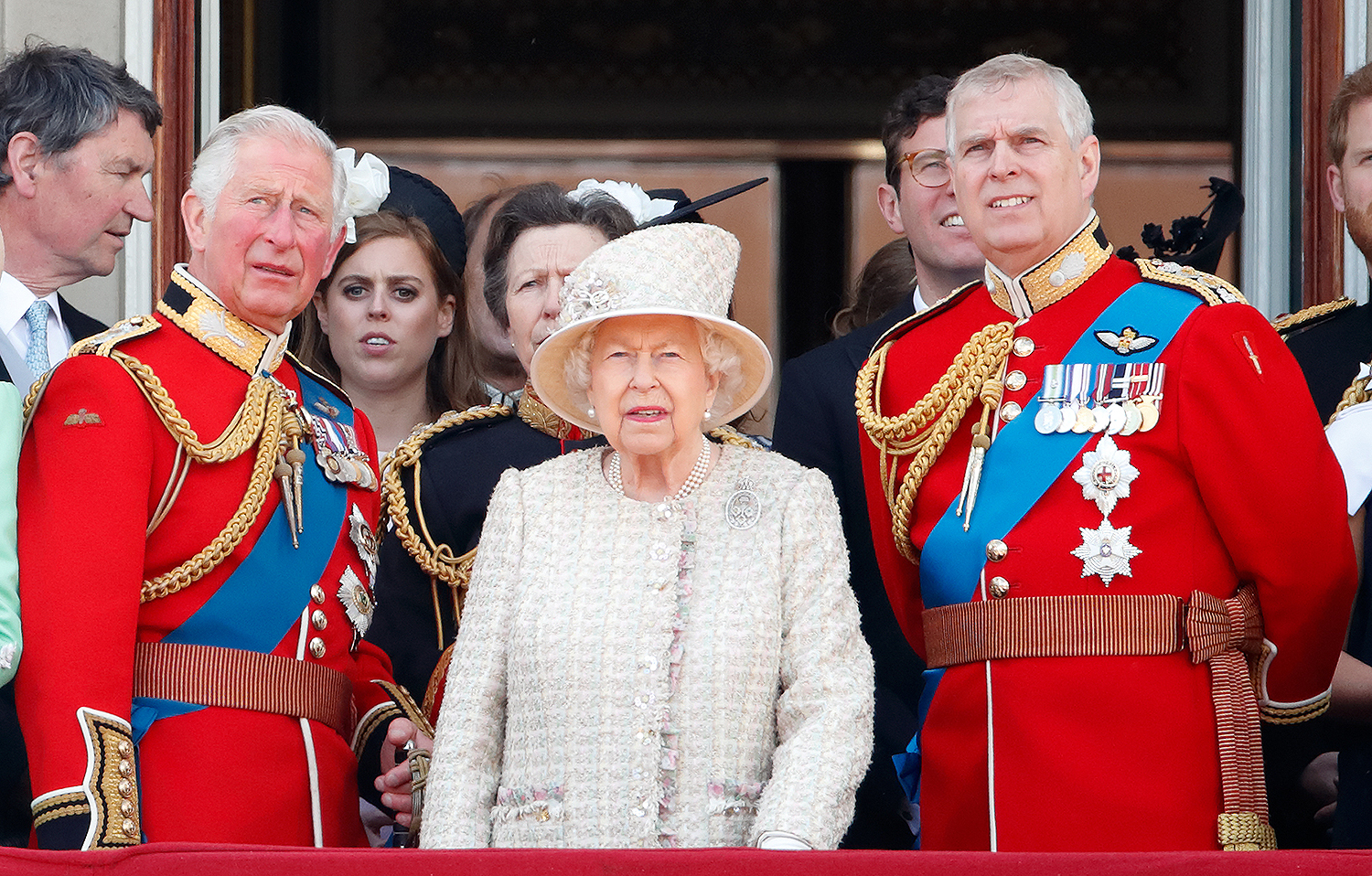 Prince Charles, Prince of Wales, Queen Elizabeth II and Prince Andrew, Duke of York