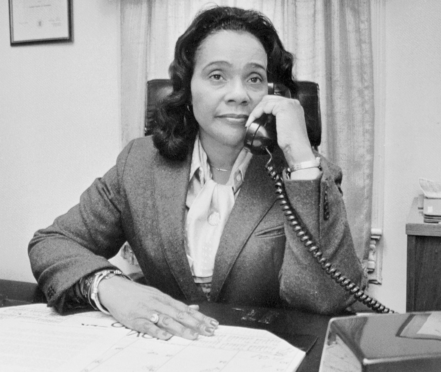 """Coretta Scott King widow of Dr. Martin Muther King Jr., sometimes prefaces a response to a question addressed to her with """"Martin Used to say,"""" But none that know her doubt that she is a leader in her own right"""